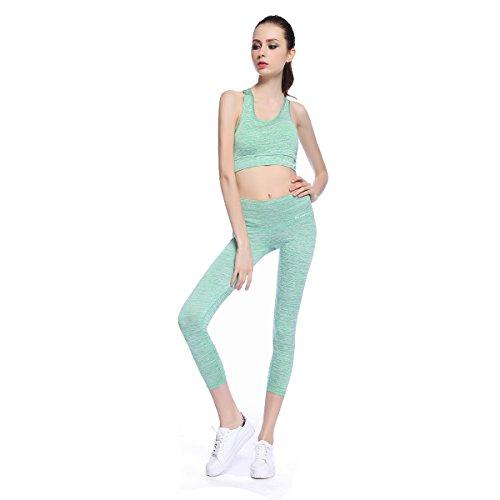 Bonjanvye Running Bra and Activewear Pants Yoga Clothing Sets for Women Sport Clothing GreenXL