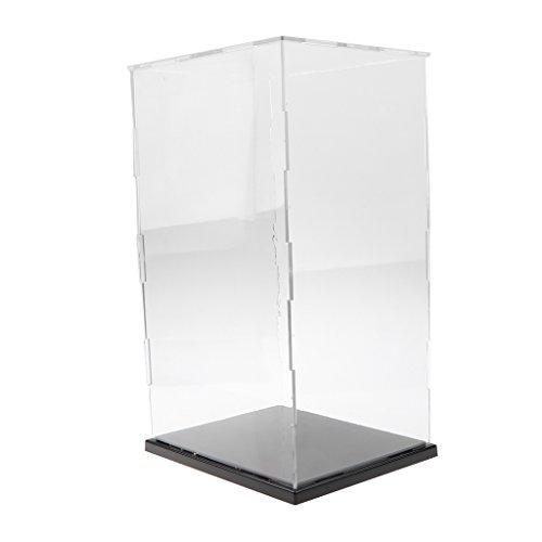 Vitrina de Exhibición Transparente con Base Negro Caja de Exposición para Figuras de Anime Figuritas Estatuas 3D -  19x15x31cm