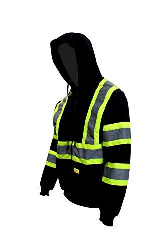 New York Hi-Viz Workwear H9013 Men's ANSI Class 3 High Visibility Class 3 Sweatshirt, Full Zip Hooded, Lightweight, Black Bottom Hoodie (Medium)