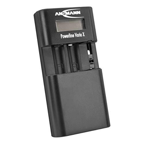 ANSMANN Universal-Ladegerät für Li-ion, Li-Po Akkupacks & AA, AAA NiMH Akkus mit automatischer Abschaltung und Verpolschutz - Powerline Vario X