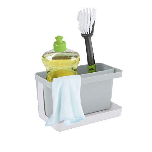 axentia Caddy Ordnungshelfer Spüle Spülbecken-Organizer für die Küche, Kunststoff, grau/weiß, ca. 20,5 x 12,5 x 11,5 cm