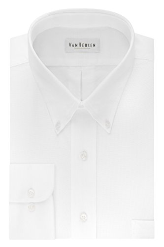 Van Heusen Men's Long Sleeve Oxford Dress Shirt, White, Large