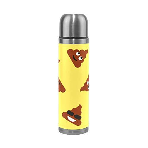 Alinlo Trinkflasche mit lustigem Kot-Muster, Edelstahl, Vakuum-Thermosbecher, auslaufsicher, isoliert, für Reisen, Kaffeetasse, 450 ml