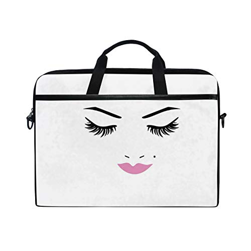 VICAFUCI Nuevo Bolso para portátil de 15-15.4 Pulgadas,Ojos Cerrados Rosa Lápiz Labial Glamour Maquillaje Cosméticos Belleza Diseño Femenino