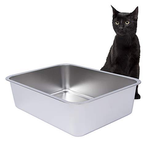 Dimaka Katzentoilette aus Edelstahl für Katzen und Katzen, Senior-Klo, mit glatter Oberfläche, leicht zu reinigen, Geruchskontrolle und rostfrei