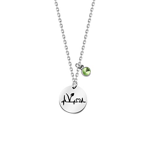 Vegan Heartbeat Symbol Necklace Vegetarian Gift Green Rhinestone Vegan Jewelry Animal Rights Gifts For Animal Lover (silver)