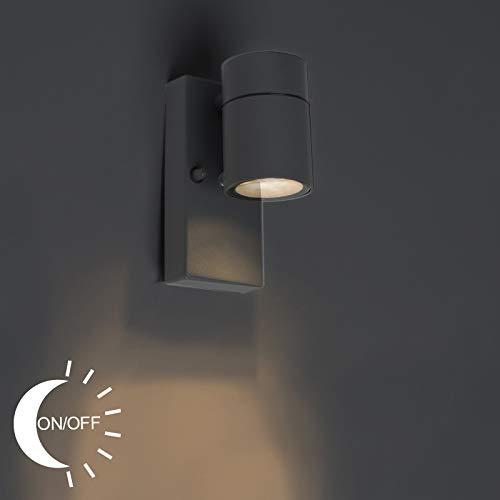 QAZQA Modern Außen Wandleuchte anthrazit IP44 mit Hell-Dunkel-Sensor - Solo/Außenbeleuchtung/Up/Down Edelstahl Zylinder LED geeignet GU10 Max. 1 x 35 Watt