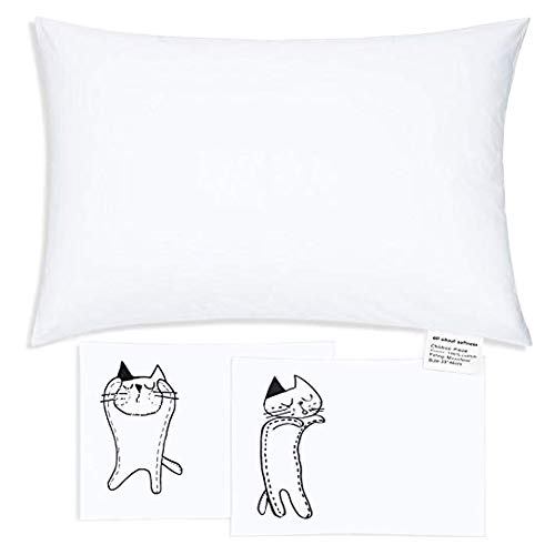 Organic Toddler Pillow 13x18 100% Cotton Soft Baby Sleeping Pillow with 2 Pillowcases Breathable and Washable Kids Pillow with Pillow Cover for Travel and Home Toddler Bed Set