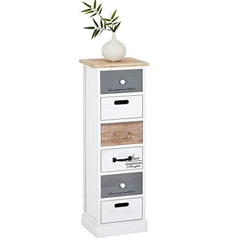 IDIMEX Chiffonnier Salva Petite Commode avec 6 tiroirs en Bois de Paulownia Style Shabby Chic Vintage Rustique Blanc