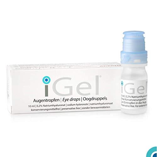 iGel® von AGEPHA Hyaluronsäure Augentropfen gegen Trockene, Rote Augen I Feuchtigkeitstropfen I Für Alle Kontaktlinsen I Ohne Konservierungsstoffe