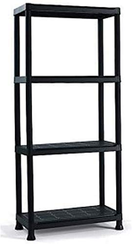 Estante modular de plástico KRONOS con 4 estantes 60 x 30 x H143 cm resina NEGRO