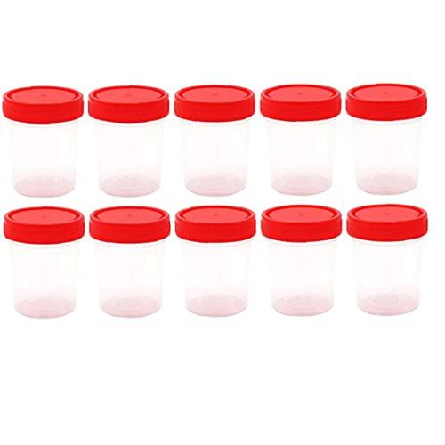 10 Unids Plástico Graduado Taza Medición Recipiente Estéril con Tapa del Hospital Colección Orina Botella Muestra 60 Botella