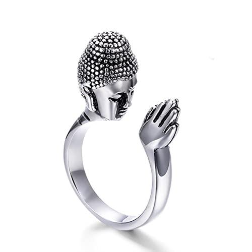 SALAN Buda Religioso Sakyamuni Buda Anillos De Oro para Mujeres Anillo De Acero Inoxidable 316l Hombres Joyería Gótica Nunca Se Desvanecen