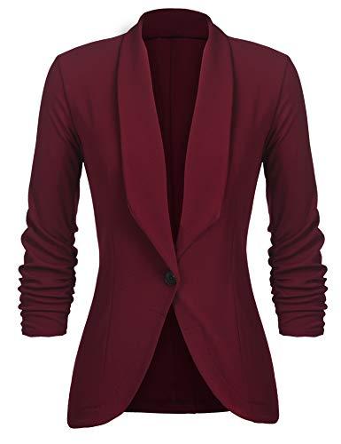 Unibelle Damen Blazer Cardigan Dünn 3/4 Längere Elegant Leicht Bolero Jacke Blazer Slim Fit Anzug Trenchcoat , Aa-weinrot, 42(Herstellergröße:XL)