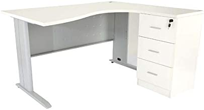 Mahmayi Station Modern Office Workstation Desk, 75 x 160 x 120 cm, White, ME1612WH