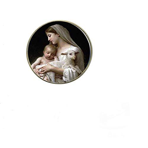 Santísima Virgen María Madre de bebé broche botón oro Jesús Cruz foto cristiana cúpula de cristal pines insignias joyería religiosa