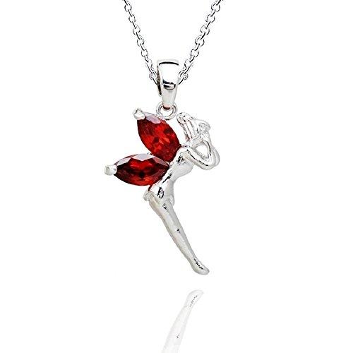 Fee Tinkerbell Halskette Anhänger mit Rot Österreichische Zirkonia Kristalle 18 kt Weiß Vergoldet 45 cm für Damen und Kinder