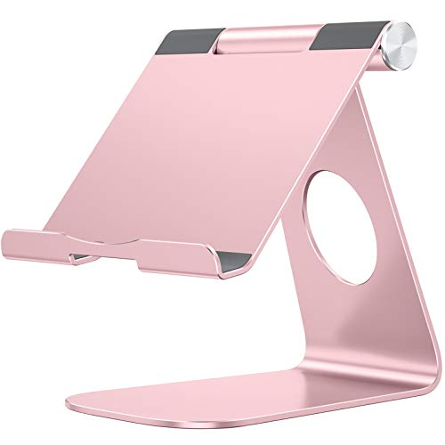 Tablet Stand Holder Adjustable, OMOTON T1 iPad Stand, Desktop Aluminum Tablet Dock Cradle Compatible with iPad Air 4/Mini, New iPad 10.2/9.7, iPad Pro 11/12.9, Samsung, Nintendo and More, Rose Gold
