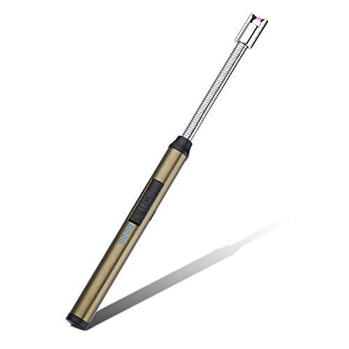 TYI -Encendedor De Velas USB, Dispositivo Recargable A Prueba De Viento Y Sin Llama, Indicador De Carga, Flexible En 360 Grados, Utilizado para Chimenea, Cocina, Camping,Brown Green