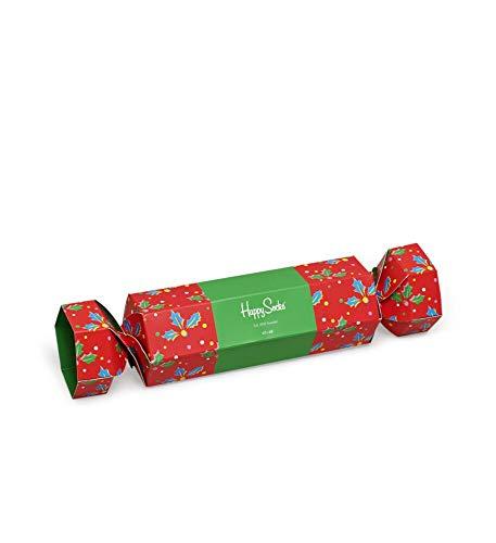 Happy Socks farbenfrohe & verspielte Christmas Cracker Holly Gift Box Geschenkboxen für Männer & Frauen, Premium-Baumwollsocken, 2 Paare, Größe 36-40.