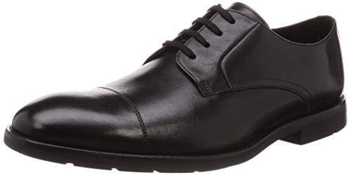 Clarks Ronnie Cap, Zapatos de Cordones Derby Hombre, Negro (Black Leather Black Leather), 44 EU