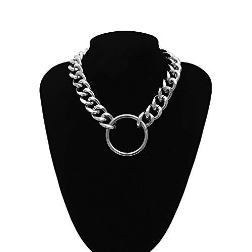 Halskette Hip Hop Übertreibung Dicker Bordstein Kubanische Gliederkette Choker Halskette Großer Reifen Anhänger Frauen Männer Unisex Modeschmuck Geschenk Silber