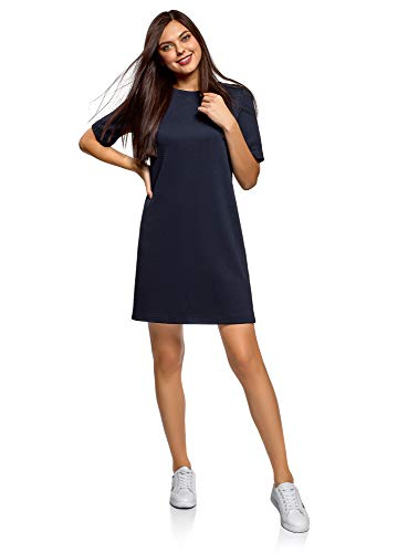 oodji Collection Damen Lässiges Kleid aus Strukturiertem Stoff, Blau, DE 38 / EU 40 / M