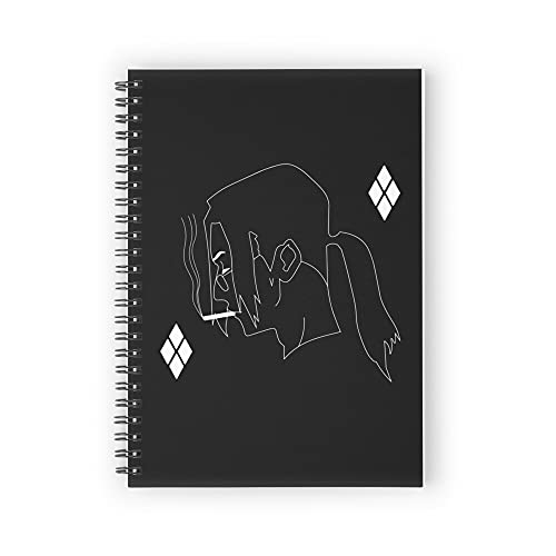 """White Smoking Samurai Spiral Notebooks, 5.5"""" X 8.3"""", Strong Twin-Wire Binding, Premium Paper, 80 Sheets / 160 pages Perfect for School, Office & Home"""
