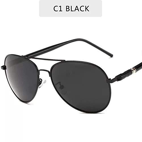 LLXXYY Gafas De Sol,Negro Clásico Europeo Retro para Hombres Gafas De Sol Polarizadas Piloto Macho Vintage Gafas De Sol Gafas De Conducción Deportivo Ciclismo De Montaña Luz Polarizada Goggle