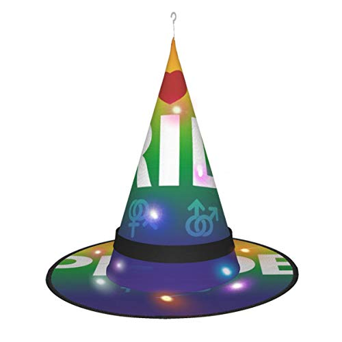 Halloween Witch Hat String Lights, LED Hanging Lights with 3 Lighting Modes, Iridescent Pride Glowing Witch Hats for Indoor Outdoor Halloween Decoration
