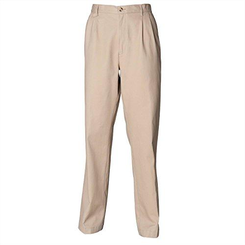 Henbury Teflon Coated Pleated Chino Trousers - Stone - 32S