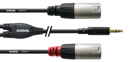 CORDIAL Y-Kabel Stereo/2 XLR-Stecker Mini-Jack-Jumper lang 1,5 m