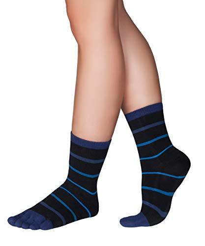 Knitido gestreifte Zehensocken Stripes Midi, aus 94prozent Baumwolle, unisex, Größe:39-42, Farbe:Schwarz/Blau