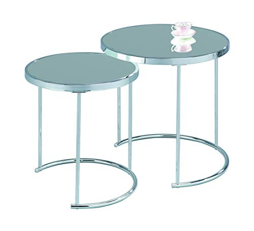 ASPECT Visio Set of 2 Round Nesting Table Top Frame, Mirror/Chrome, 50x50x50 cm