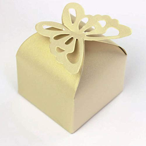 YeahiBaby 10 stücke kreative Schmetterling pralinenschachtel schöne irisierende Papier verpackung geschenkboxen Party Supplies für Hochzeit Festival (beige)