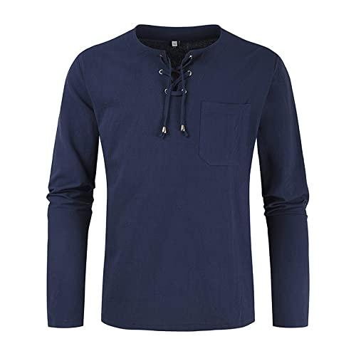 Camisa Tipo Jersey de Manga Larga para Hombre Moda Color sólido Costura de Bolsillo Tendencia Simple Diario Ocio Camisa básica con cordón L