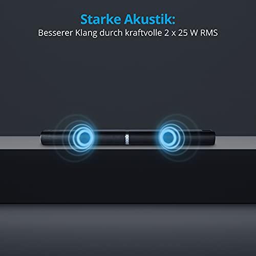 MEDION P61202 2in1 Convertible Bluetooth TV Soundbar (2.0 Soundbar, 2 x 25 Watt, Wandmonatge, NFC, HDMI ARC mit ECC, AUX, optischer Eingang)