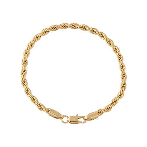 AstriuK Joyería de Moda Cadena de Hombres y Mujeres con Longitud 21cm 18K Chapado en Oro joyería de la Amistad joyería de Pareja encantos de Pulsera