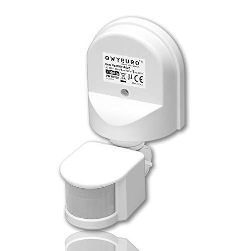 QWYEURO Interruptor detector de sensor de movimiento PIR ajustable 180 ° Máx.1200W/12M (Blanco)