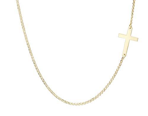 ASOLOGOLD Pulsera de cadena tipo espiga de trigo ajustable de oro amarillo macizo de 9 quilates (título 375) con detalle en forma de cruz.