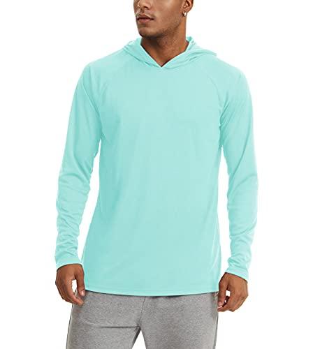 KEFITEVD Camiseta de manga larga para hombre, protección solar UPF 50+, con capucha, agujero para el pulgar, de secado rápido, camiseta funcional para pesca, senderismo azul oscuro XL