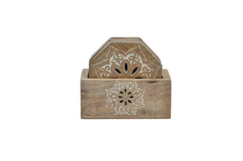 Mela Artisans Decorative Wooden Coasters with Holder, Set of 4 – Rustic Coasters for Drinks, Wine Glass, Coffee Cup, Soft Drinks, Water, or Beer - Wood Coasters in Whitewash Finish - Mango Wood