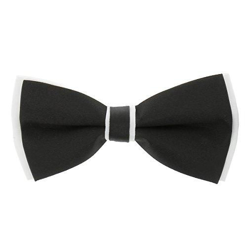 CravateSlim Noeud Papillon Noir et Blanc n°2 Homme - Noeud Papillon Mariage - Soirée