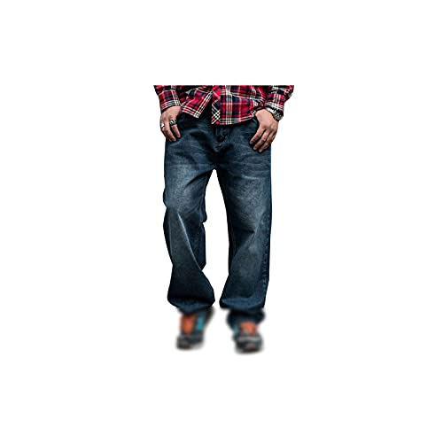 Oiilll スラックス メンズ, デニムルーズパンツ男性ヒップホップジーンズストレートカジュアルストリートウェアスケートボードブルーワイドレッグズボン (Size : 44)