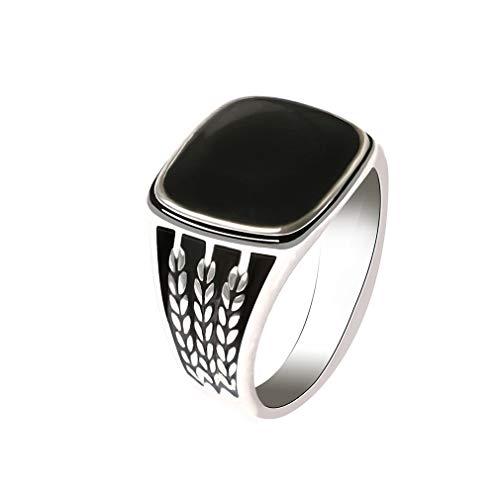 YAZILIND Moda Tallada Anillo de Banda Retro Gota de Aceite Anillos Negro Piedra Preciosa Hombres joyería cumpleaños Regalo (tamaño 14,5)