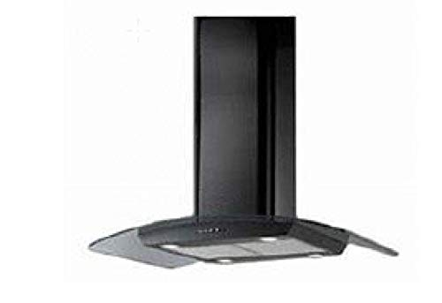 Broan HHIKB 90 VN Hotte Ilot en INOX Verre Noire 90 cm avec Filtre Charbon à Inclus, Fonction évacuation supérieure, avec Cassettes métalliques lavables en Lave-Vaisselle