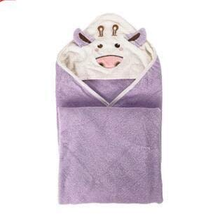 FEIYI Bonita toalla de algodón para bebé, manta para recién nacido, toalla de muselina (color: morado)