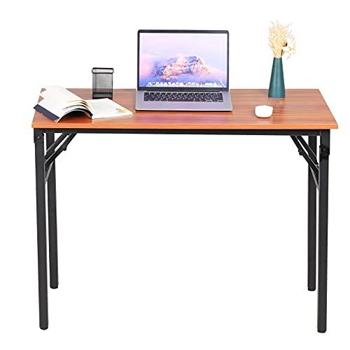 Radelldar Scrivania Pieghevole Salvaspazio Scrivanie Computer Laptop Tavolo Pieghevole Tavolo da Studio Ufficio Postazioni di Lavoro in Acciaio Legno,100 * 48 * 74CM (Noce)