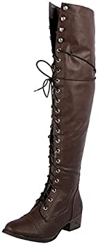 Breckelle s Women s Alabama-12 Knee High Riding Boots,6 B M  US,Premium Brown