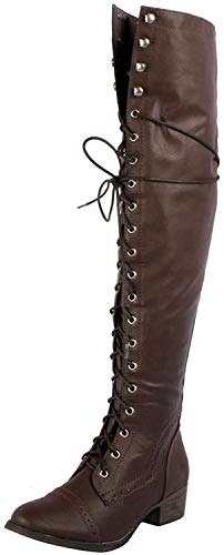 Breckelle's Women's Alabama-12 Knee High Riding Boots,6.5 B(M) US,Premium Brown